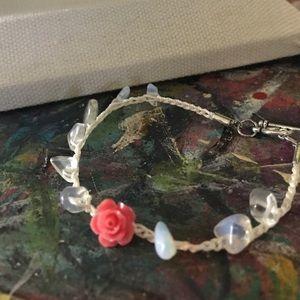 Opal and rose crochet bracelet